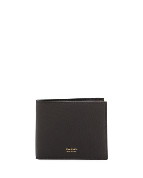 Grained Leather Bi-Fold Wallet
