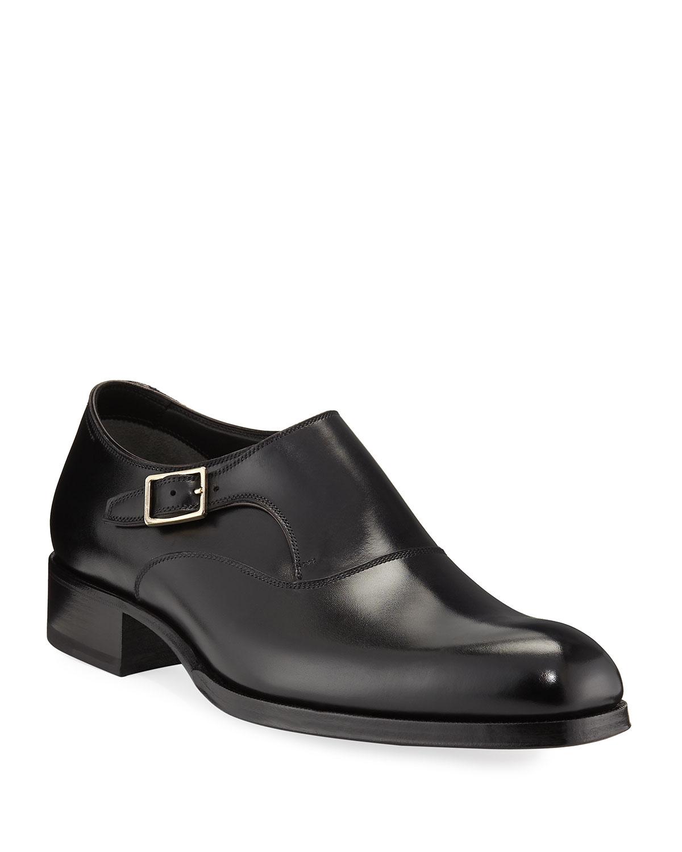 TOM FORD Edgar Calf Monk Leather Monk Calf Shoe f014f3