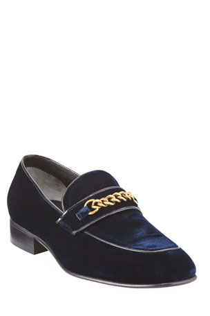 TOM FORD Velvet Chain-Link Loafer, Blue