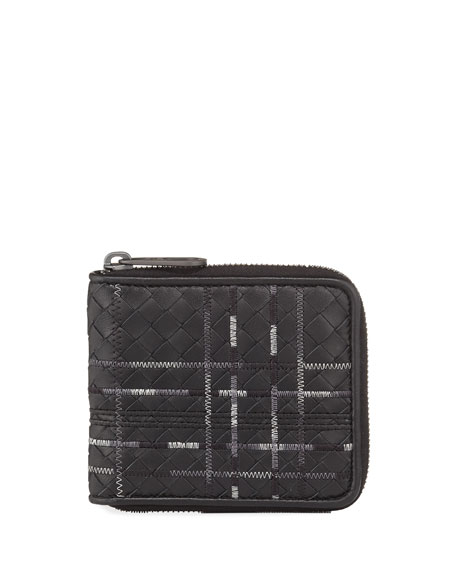 Bottega Veneta Metropolis Intrecciato Leather Zip Wallet