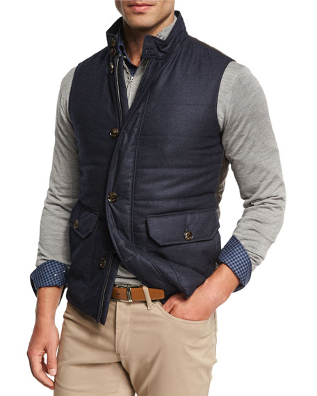 Icefield Wool Vest with Leather Back, Starlight Blue