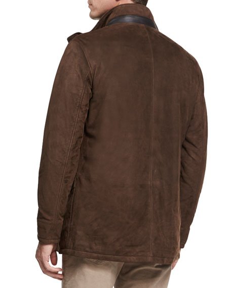 Steamboat Leather & Suede Coat, Branch