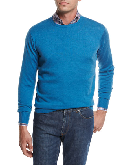 Crown Soft Merino Wool-Silk Crewneck Sweater, Bogue Blue