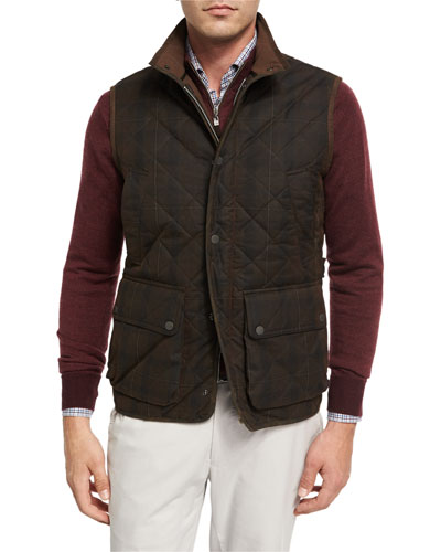 Mountainside Waxed Quilted Vest, Brown