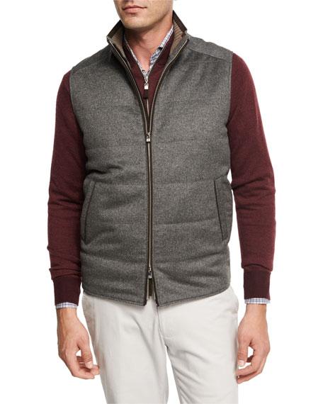 Peter Millar Darien Wool/Cashmere Quilted Vest, Gray