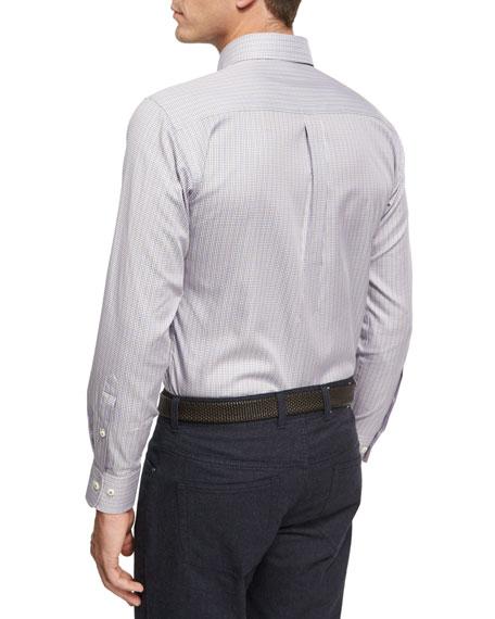 Crown Comfort Solstice Mini-Check Cotton-Silk Shirt, Light Blue