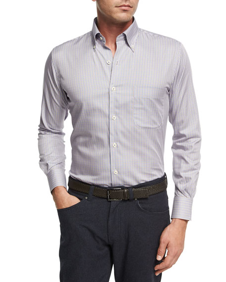Peter Millar Crown Comfort Solstice Mini-Check Cotton-Silk Shirt,