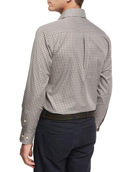 Crown Shipyard Mini-Check Cotton Shirt, Brown