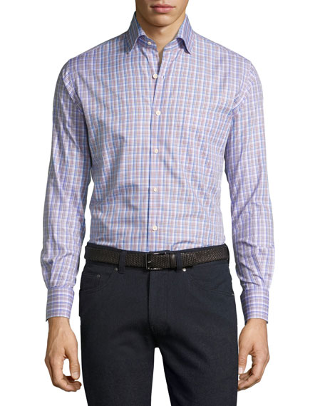 Peter Millar Crown Alpine Plaid Cotton Shirt, Purple