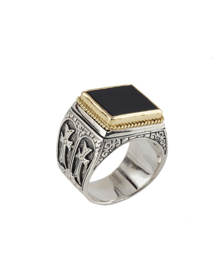 Men's Sterling Silver & 18K Gold Signet Ring with Onyx, Size 10