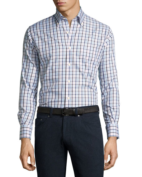 Peter Millar Crown Brady Check Cotton Shirt, Pink/Blue/White
