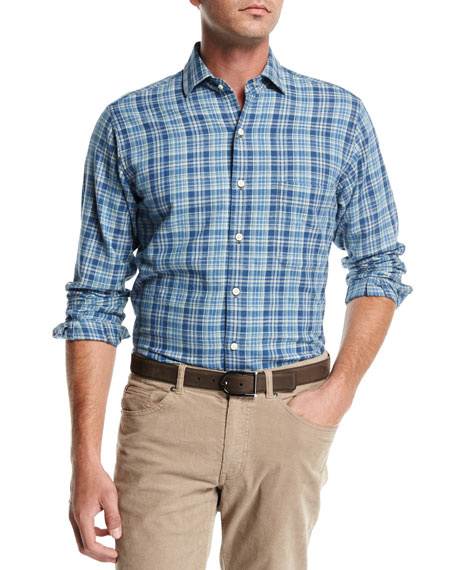 Peter Millar Appalachian Check Flannel Sport Shirt