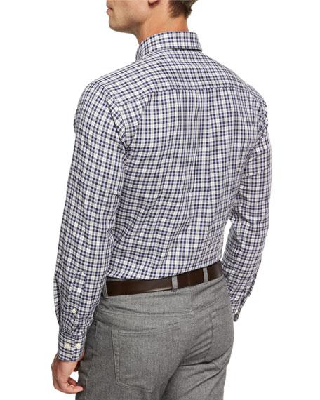 Crown Worthington Tartan Cotton-Cashmere Shirt, Navy