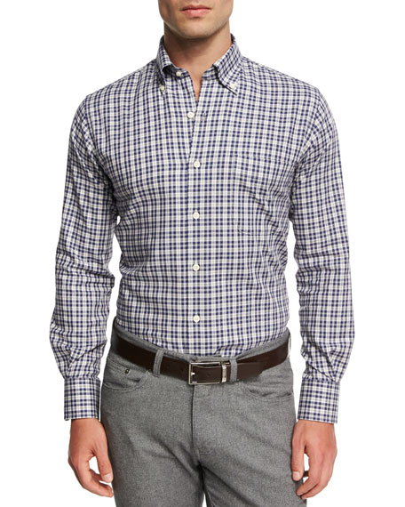 Crown Worthington Tartan Cotton-Cashmere Shirt, Navy