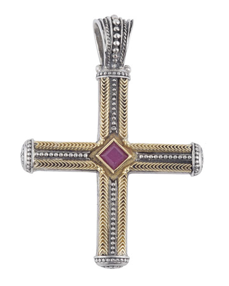 Men's Sterling Silver & 18K Gold Cross Pendant with Ruby