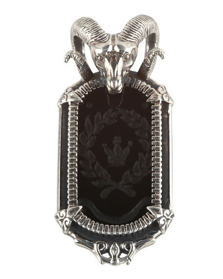 Men's Sterling Silver Ram Pendant with Onyx