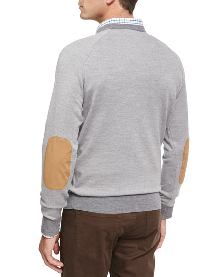 Solstice Elbow-Patch Sweater, Light Gray