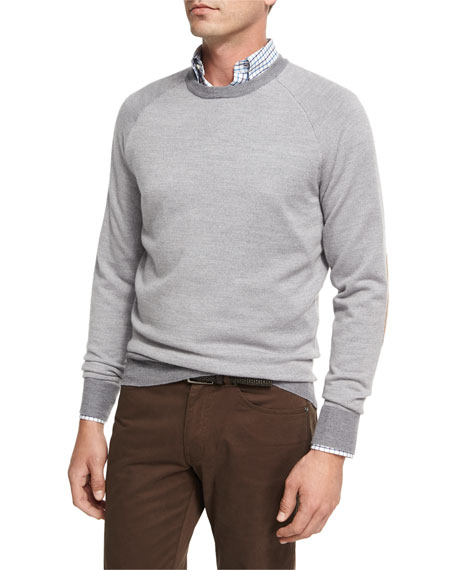 Peter Millar Solstice Elbow-Patch Sweater, Light Gray