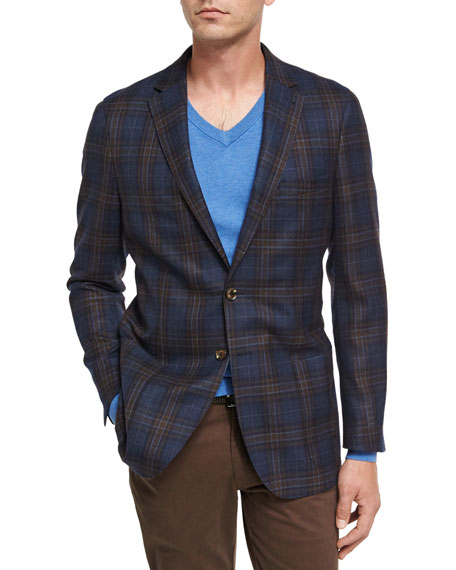 Plaid Soft Sport Jacket, Navy