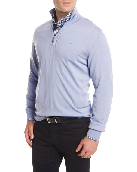 Brioni Quarter-Zip Wool Sweater, Blue