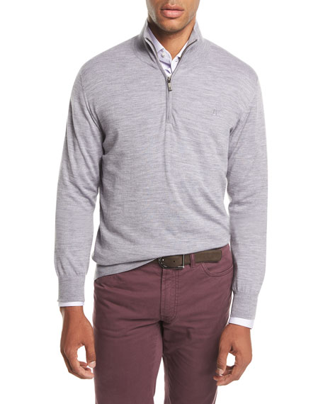 Brioni Quarter-Zip Wool Sweater, Gray