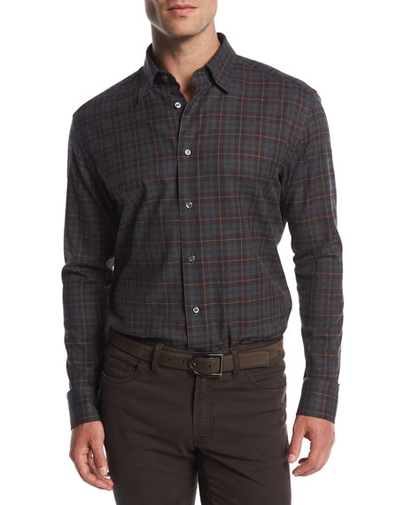 Brioni Plaid Cotton Dress Shirt