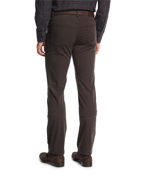 Stretch-Cotton Straight-Leg Pants