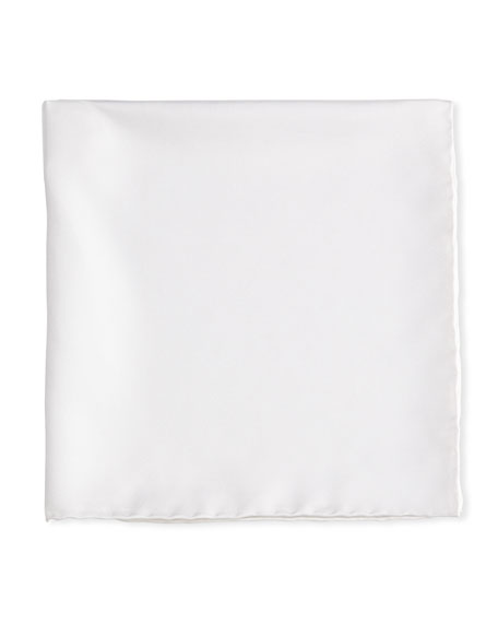 Solid Silk Twill Pocket Square, White