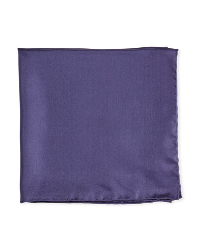 Solid Silk Twill Pocket Square, Navy