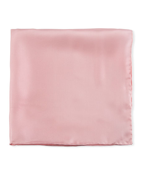 Solid Silk Twill Pocket Square,  Pink