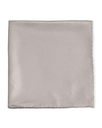 Solid Silk Twill Pocket Square, Silver