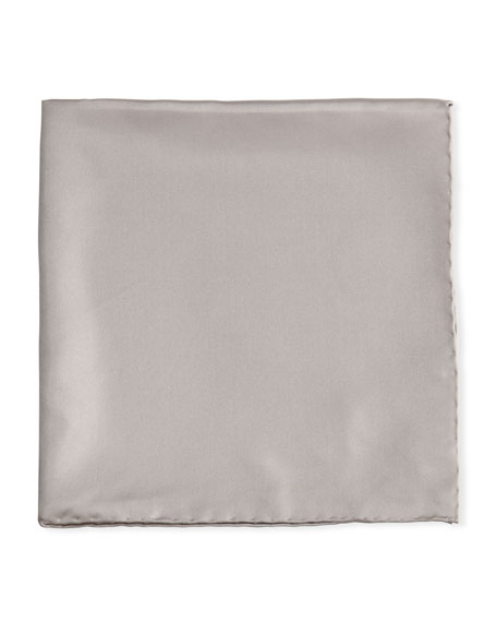 Solid Silk Twill Pocket Square, Silver