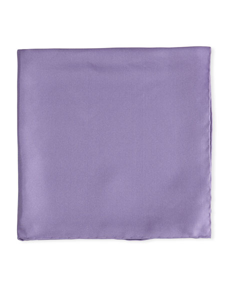 Solid Silk Twill Pocket Square, Lavender