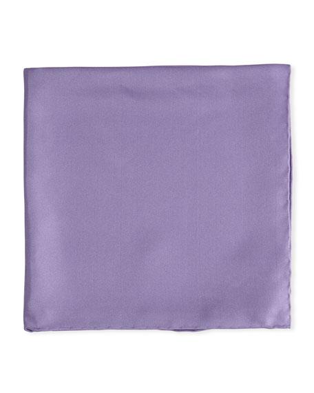 Psycho Bunny Solid Silk Twill Pocket Square, Lavender