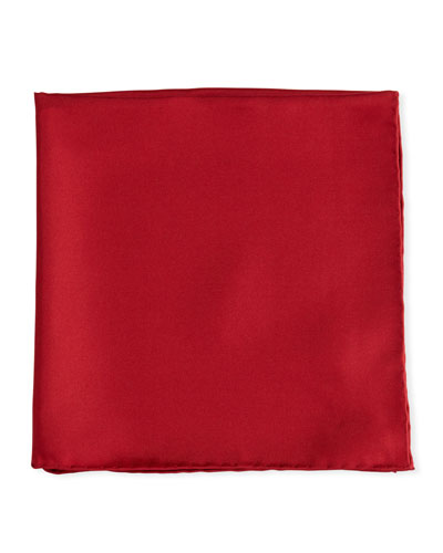 Solid Silk Twill Pocket Square, Cranberry