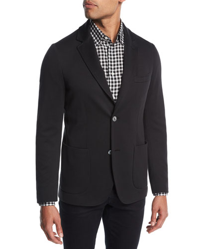 Cotton-Silk Knit Blazer