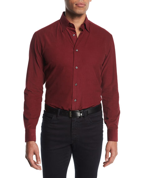 Corduroy Sport Shirt, Red