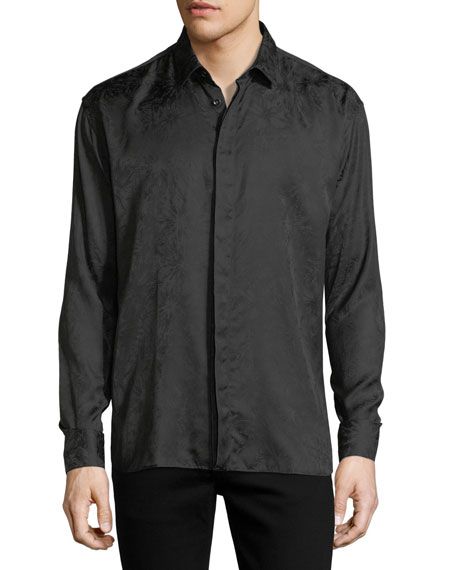Saint Laurent Long-Sleeve Tonal Firework-Print Shirt