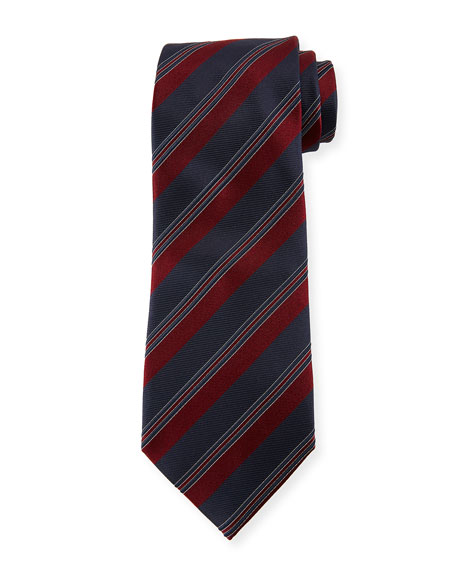 Wide Rep-Stripe Silk Tie