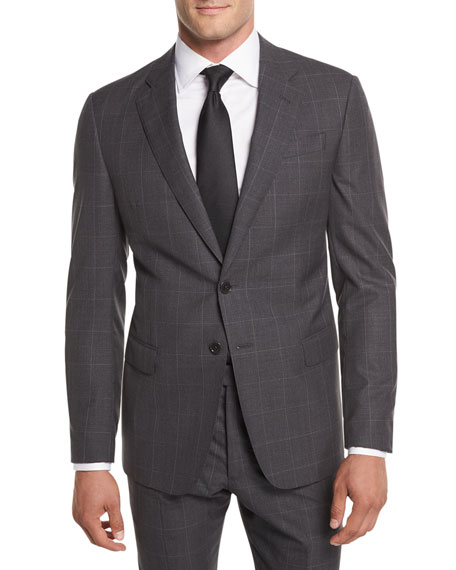Giorgio Armani Textured Windowpane Wool Two-Piece Suit