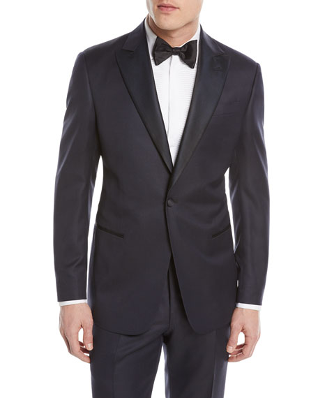 Giorgio Armani Micro-Diamond Pattern Wool-Blend Tuxedo