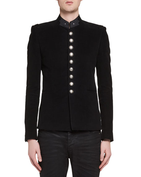 Saint Laurent Officer Cotton Military Jacket, black