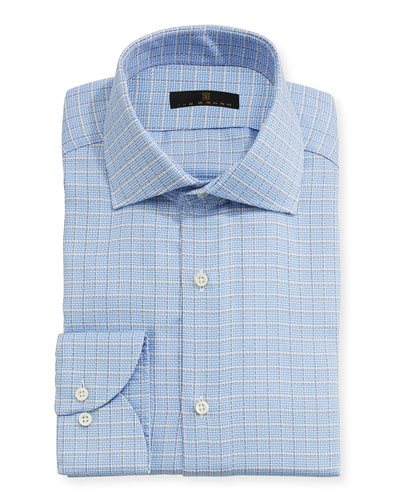 Textured-Check Dress Shirt, Blue/Tan