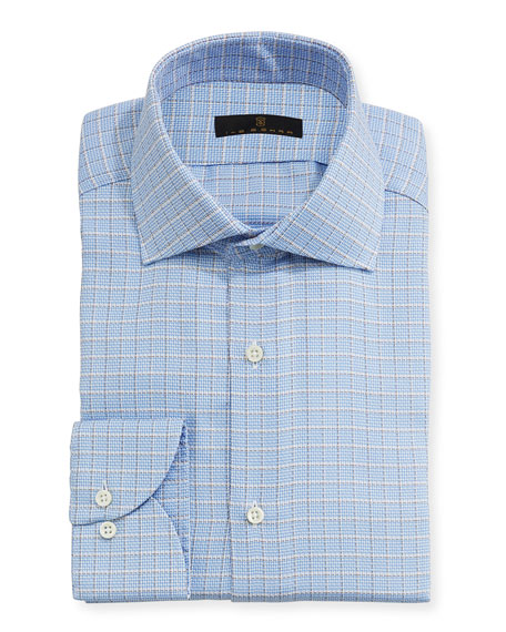 Ike Behar Textured-Check Dress Shirt, Blue/Tan