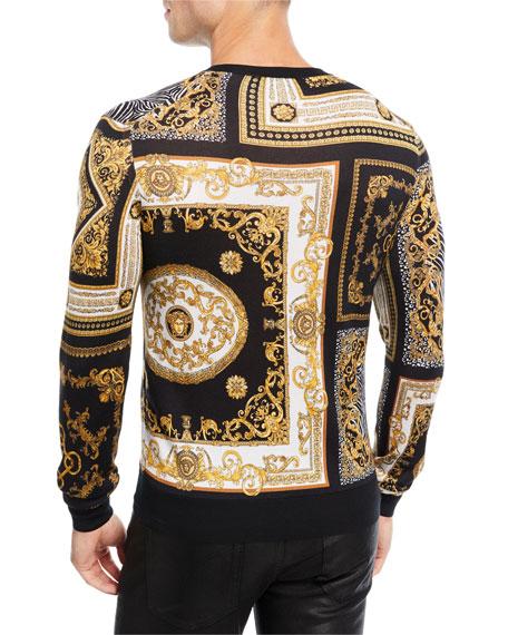 Signature-Print Silk V-Neck Sweater
