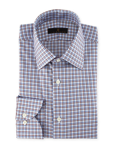 Check-Print Cotton Dress Shirt