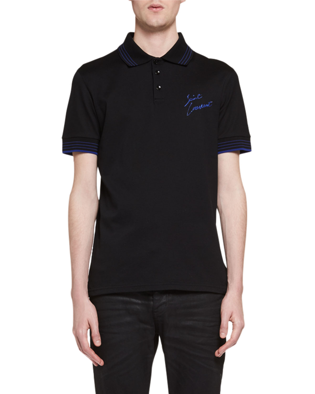 27f655c2e3f Saint Laurent Cotton Pique Polo Shirt | Neiman Marcus