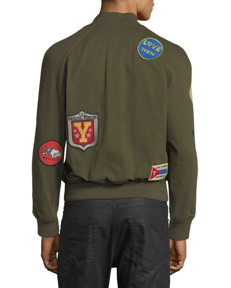 Image 2 of 3: Teddy Multi-Patch Twill Bomber Jacket