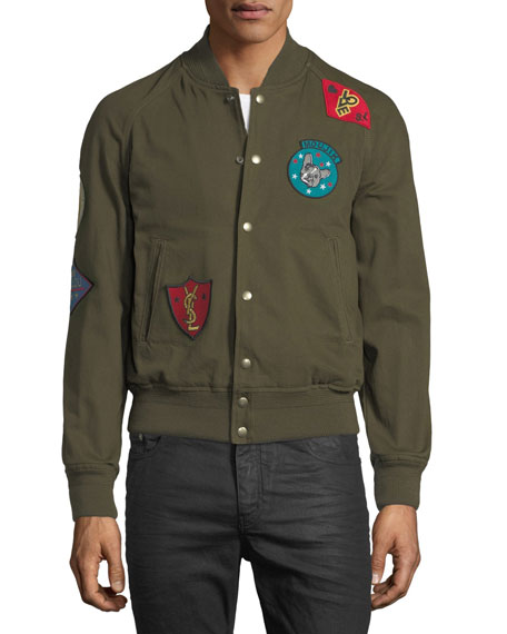 Image 3 of 3: Teddy Multi-Patch Twill Bomber Jacket