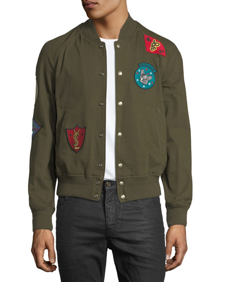 Image 1 of 3: Teddy Multi-Patch Twill Bomber Jacket